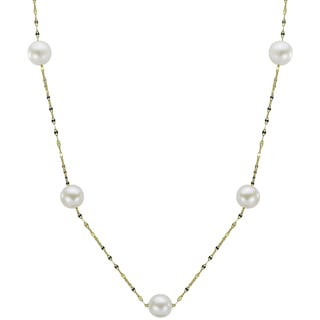 Pearls For You 14k Yellow Gold White Freshwater Pearl Mirror Chain Station Necklace (7-7.5 mm)