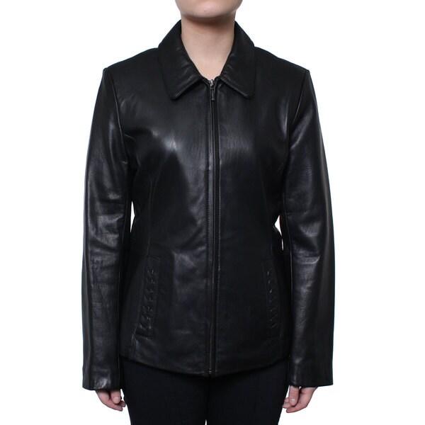 Donnybrook Women's Zip Front Genuine Leather Jacket 16239337