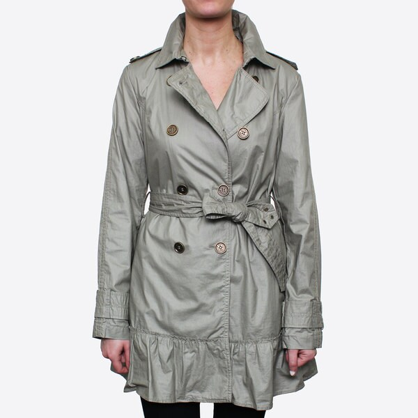 Buffalo Women's Waxed Cotton Belted Trench with Ruffle Detail