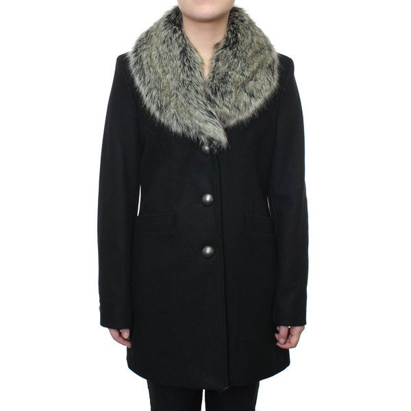 Esprit Women's Wool Coat with Faux Fur Shawl Collar