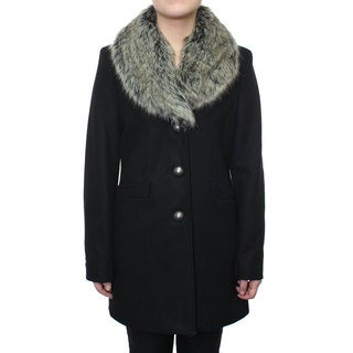 Esprit Women's Wool Coat with Faux Fur Shawl Collar