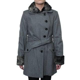 Esprit Women's Belted Asymmetrical Front Wool Coat
