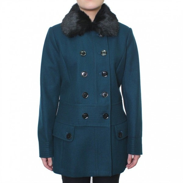 Esprit Women's Double Breasted Wool Coat with Faux Fur Collar