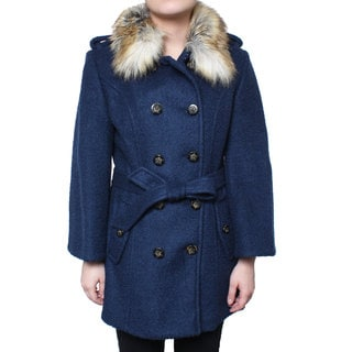 Laundry Women's Double Breasted Boiled Wool Jacket with Faux Fur Collar