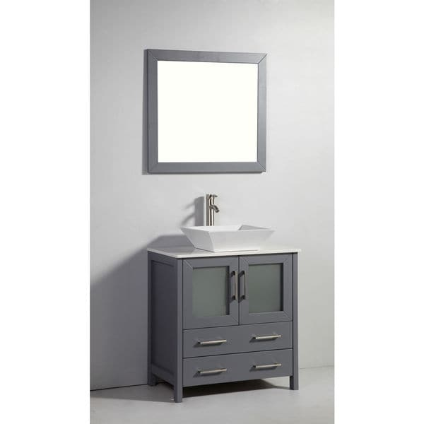 30-inch Dark Grey Solid Wood Sink Vanity with Mirror