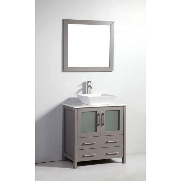 30 inch light grey solid wood sink vanity with mirror for Gray 30 inch bathroom vanity