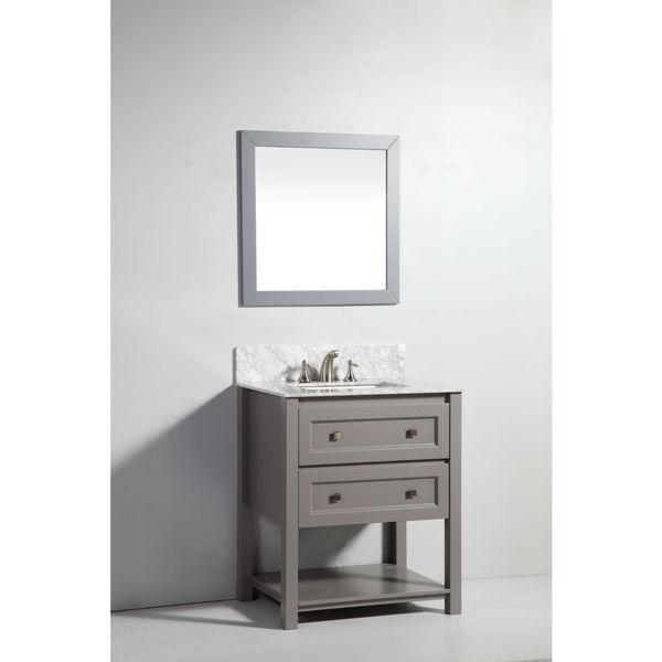 Legion furniture 30 inch light grey solid wood sink vanity for Gray 30 inch bathroom vanity