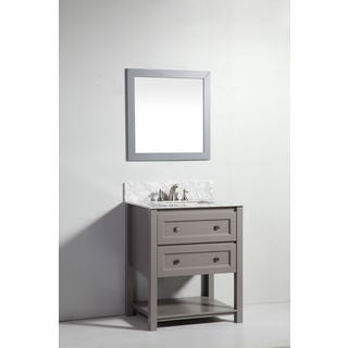 Legion Furniture 30-inch Light Grey Solid Wood Sink Vanity with Mirror