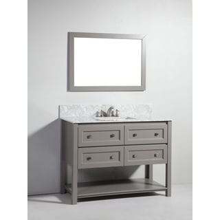 Legion Furniture 48-inch Light Grey Solid Wood Sink Vanity with Mirror