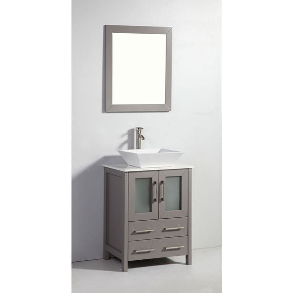 24 Inch Light Grey Solid Wood Sink Vanity With Mirror