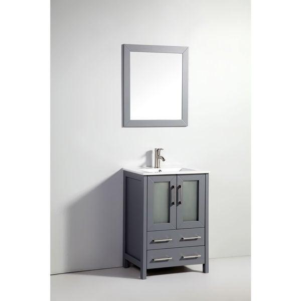24 Inch Dark Grey Double Door Solid Wood Sink Vanity With
