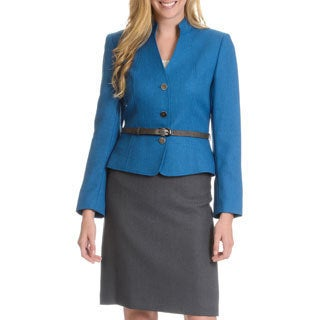 Tahari Arthur S. Levine Women's Collarless Snakeskin Belt Skirt Suit