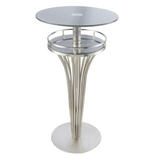 Yukon Contemporary Bar Table In Stainless Steel and Grey Frosted Tempered Glass