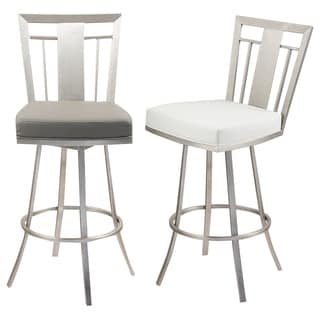 Cleo 26-inch Modern Barstool In Grey Leatherette and Brushed Stainless Steel