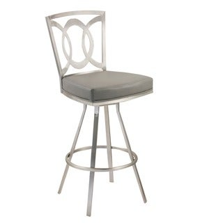 Drake 30-inch Modern Barstool In Grey Leatherette and Brushed Stainless Steel