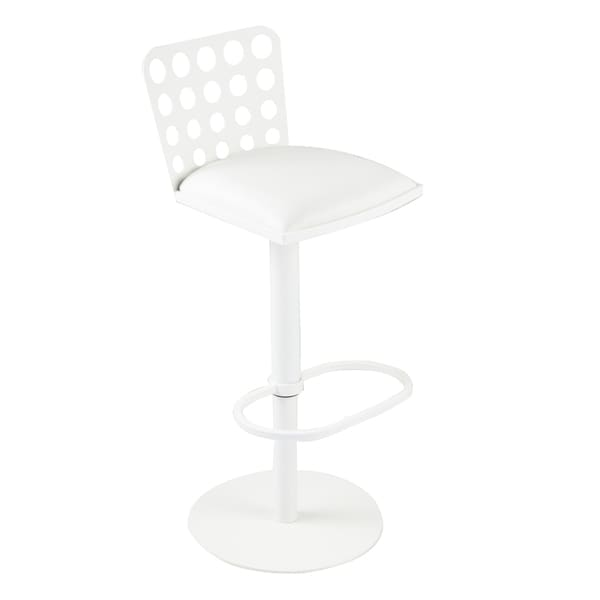 Dune Contemporary Barstool In White Leatherette