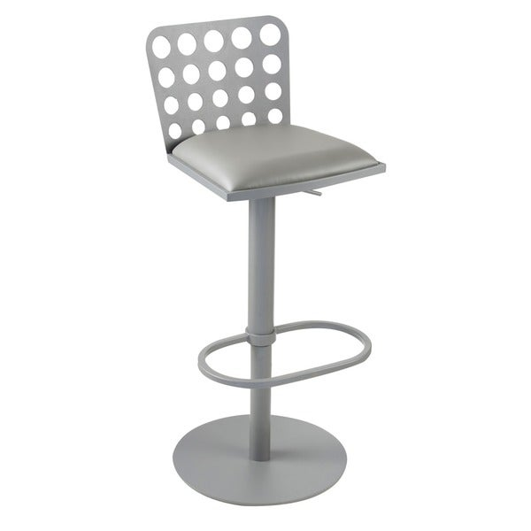 Dune Contemporary Barstool In Grey Leatherette