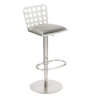 Dune Contemporary Barstool In Grey Leatherette and Stainless Steel