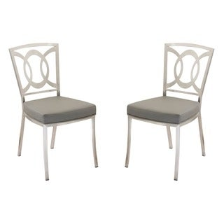 Drake Modern Dining Chair In Grey Leatherette and Stainless Steel (Set of 2)