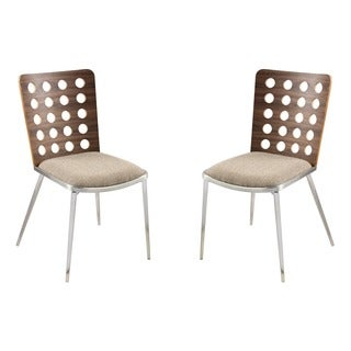 Elton Modern Dining Chair In Brown Fabric and Stainless Steel (Set of 2)
