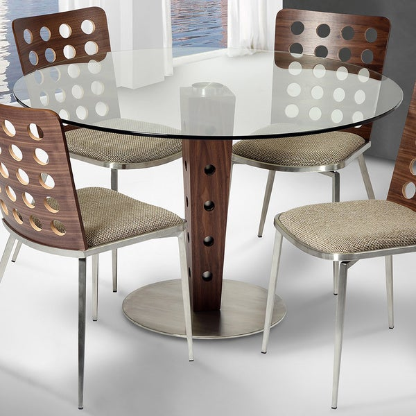 Armen Living Elton Modern Dining Table In Stainless Steel With Clear Glass Top And Walnut Veneer
