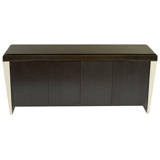 Chow Contemporary Marble Buffet Table in Black Marble and Stainless Steel Finish