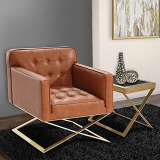 Armen Living Chilton Modern Chair In Brown Leatherette and Gold Finish
