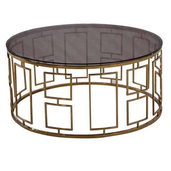 Armen Living Zinc Contemporary Coffee Table In Shiny Gold With Smoked Glass Top
