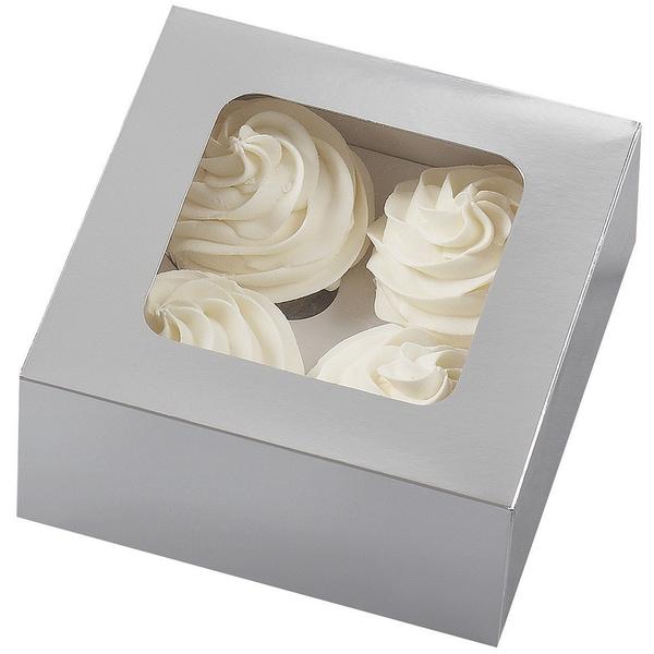 Cupcake Boxes4 Cavity Silver 3/Pkg 16239973