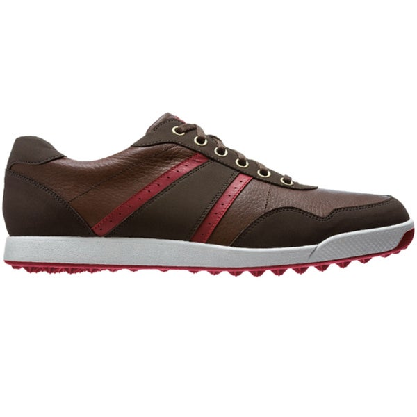 FootJoy Mens Contour Casual Spikeless Dark Brown-Crimson Golf Shoes