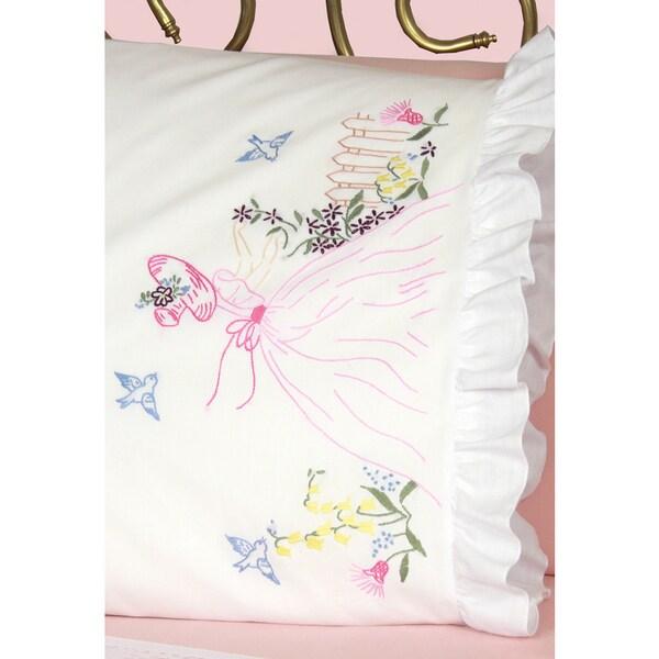 Stamped Ruffled Edge Pillowcases 30inX20in 2/PkgMiss Daisy