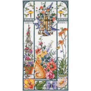 Summer Cat Sampler Counted Cross Stitch Kit8inX16in 14 Count