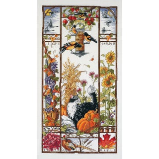 Autumn Cat Sampler Counted Cross Stitch Kit8inX16in 14 Count