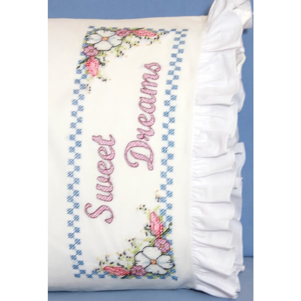 Stamped Ruffled Edge Pillowcases 30inX20in 2/PkgSweet Dreams