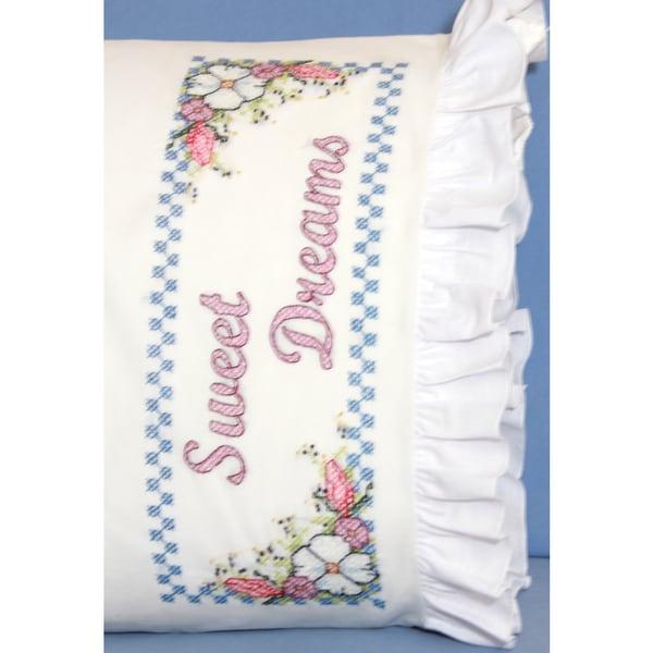 Stamped Ruffled Edge Pillowcases 30inX20in 2/PkgSweet Dreams