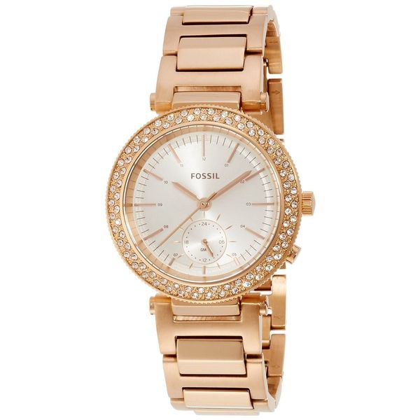 Fossil Women's ES3851 'Urban Traveler' Multi-Function Crystal Rose-Tone Stainless Steel Watch