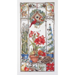 Winter Cat Sampler Counted Cross Stitch Kit8inX16in 14 Count
