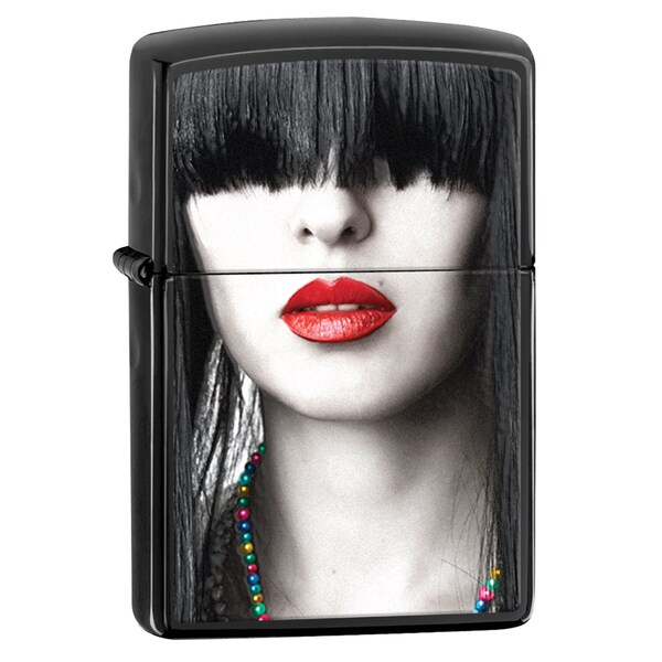 Zippo Ebony Red Lips Windproof Lighter