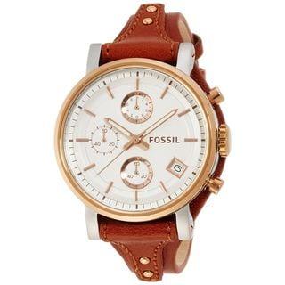 Fossil Women's ES3837 'Original Boyfriend' Chronograph Brown Leather Watch