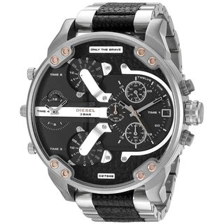 Diesel Men's DZ7349 'Mr. Daddy 2.0' Chronograph 4 Time Zones Two-Tone Leather Watch
