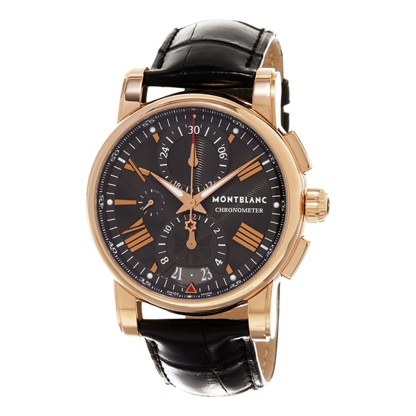 Mont Blanc Men's 104275 'Star' Grey Dial Black Leather Strap Rose Gold Chronograph Swiss Automatic Watch
