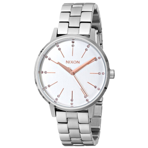 Nixon A099-1519 Ladies The Kensington Silver Champagne Crystal Watch