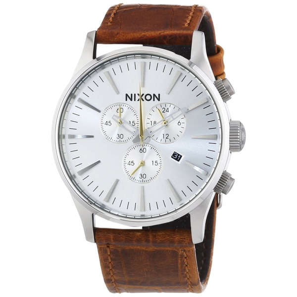Nixon A405-1888 Mens Sentry Chrono Leather Saddle Gator Watch