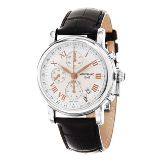Mont Blanc Men's 36967 'Star' Silver Dial Black Leather Strap Chronograph Swiss Automatic Watch