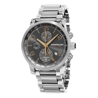 Mont Blanc Men's 107303 'Time walker UTC' Grey Dial Stainless Steel Chronograph GMT Swiss Automatic Watch