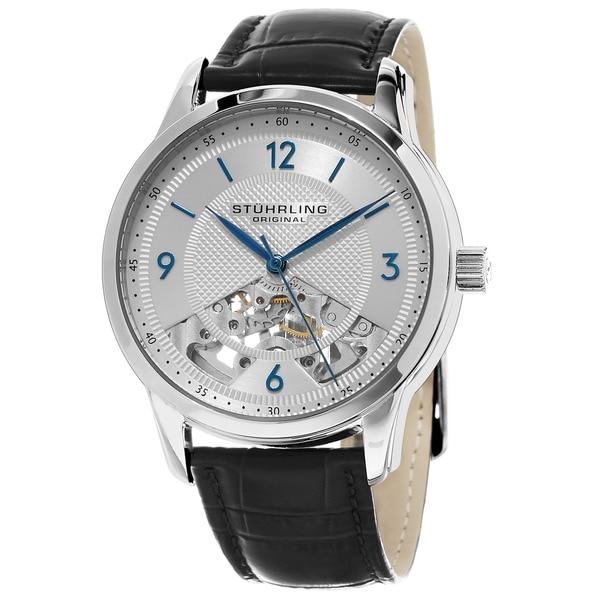 Stuhrling Original Men's Mechanical Legacy Skeleton Leather Strap Watch 16240515