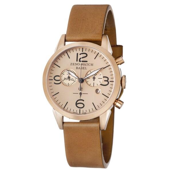 Zeno Men's 4773Q-PRG-A6-1 'Vintage Line' Rosetone Dial Beige Leather Strap Chronograph Swiss Quartz Watch
