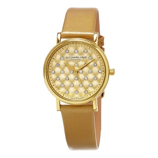 Stuhrling Original Women's Swiss Quartz Leather Strap Swarovski Crystal Watch