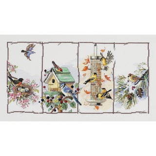 Four Seasons Birds Counted Cross Stitch Kit18inX10in 14 Count