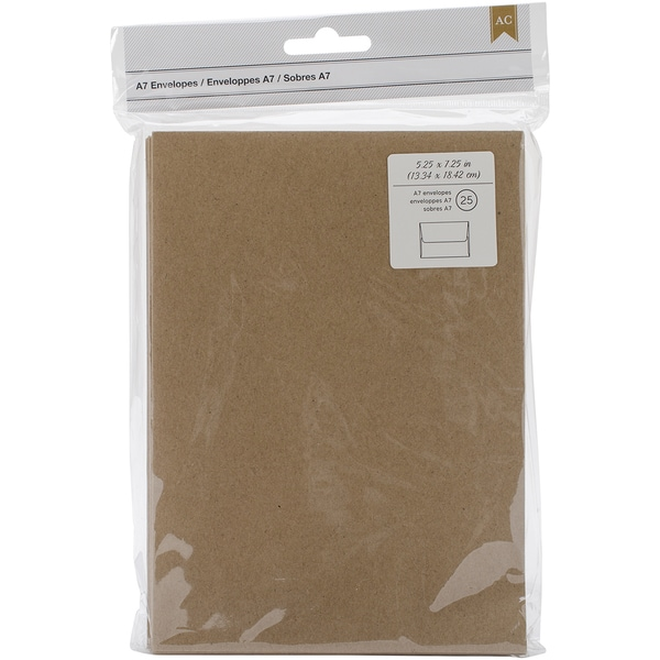 American Crafts A7 Envelopes (5.25inX7.25in) 25/PkgKraft